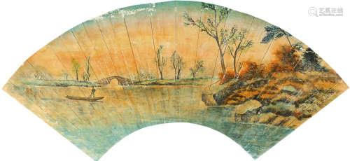 颜文梁(1893~1988) 春江泛舟 扇面 设色纸本