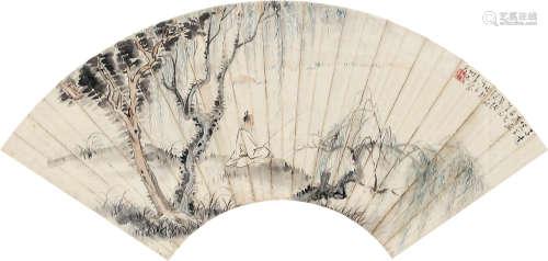 诸健秋(1890~1965) 己巳(1929)年作 柳荫独钓 镜框 设色纸本