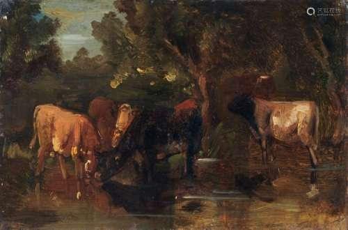 Friedrich Voltz, Kuehe an der Traenke. Mid 19th cent.