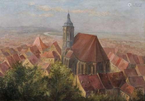 Georg Bernkopf, Blick von Schloss Sonnenstein ueber Pirnaer Altstadt mit Marienkirche. 1924.