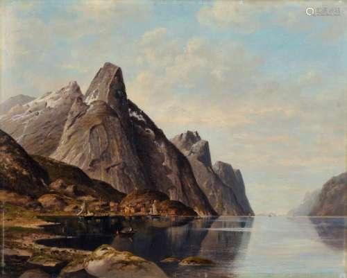 Jacobus Johannes van Poorten, Norwegische Fjordlandschaft mit Fischerbooten. 1889.