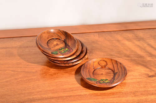 木制刻花涂漆茶道具托盘