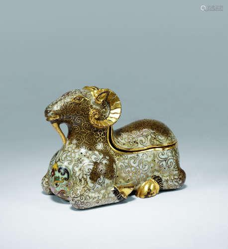 清乾隆 铜掐丝珐琅吉羊