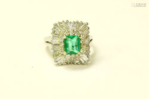 14K, High Quality Colombian Emerald and Diamond Ring