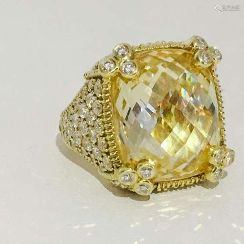 18K Gold, 25 CT Natural Yellow Stone and Diamond Ring
