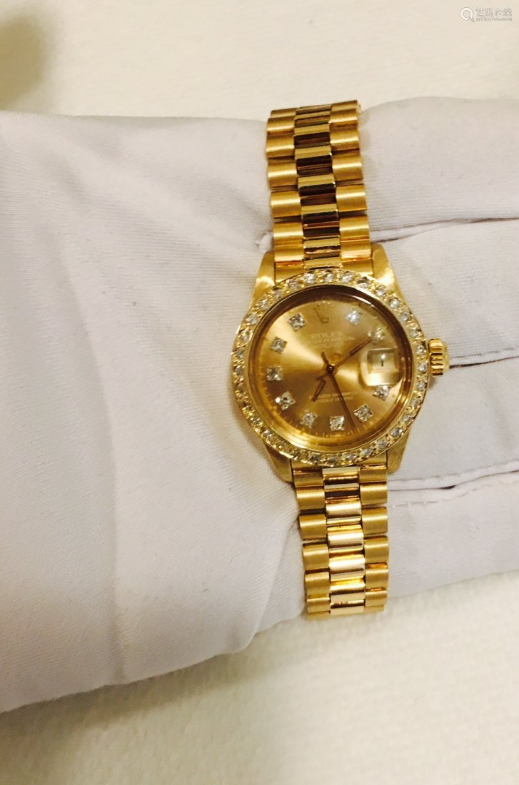 Rolex PRESIDENT Ladies 18K Diamond DIAL And Bezel