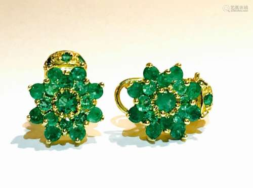 18K Gold and 11.00 CT Natural Emerald Vintage Earrings