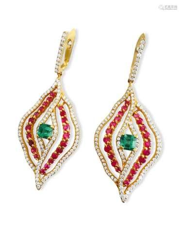14k Gold Diamond Emerald and Ruby Earrings