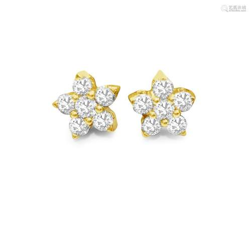14K Gold Star Diamond Earrings
