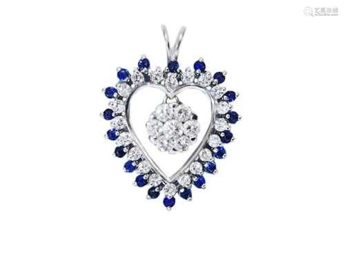 18k British Hallmark White Gold Diamond Pendant