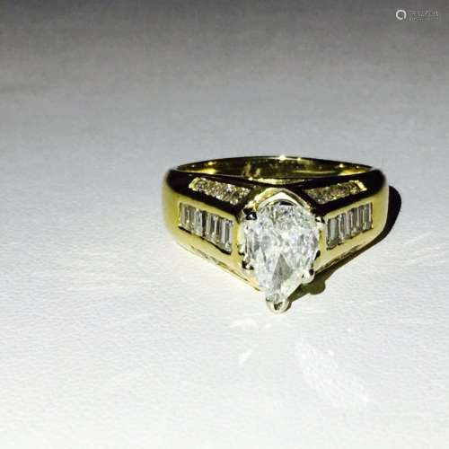 18K Yellow Gold and Diamond Engagement Ring (GIA)