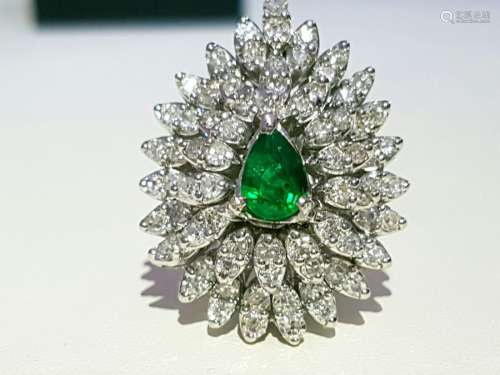 14k White Gold Natural Diamond & COLOMBIAN EMERALD RING