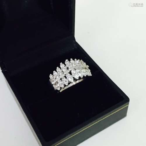 14K White Gold, 1.00 carat VS Diamond Cocktail Ring