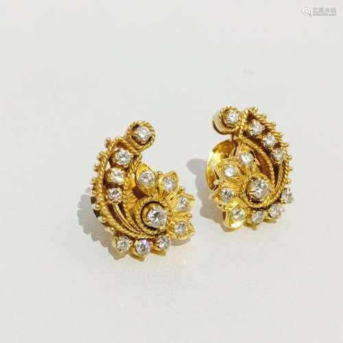 18K Yellow Gold and Diamond Earrings.