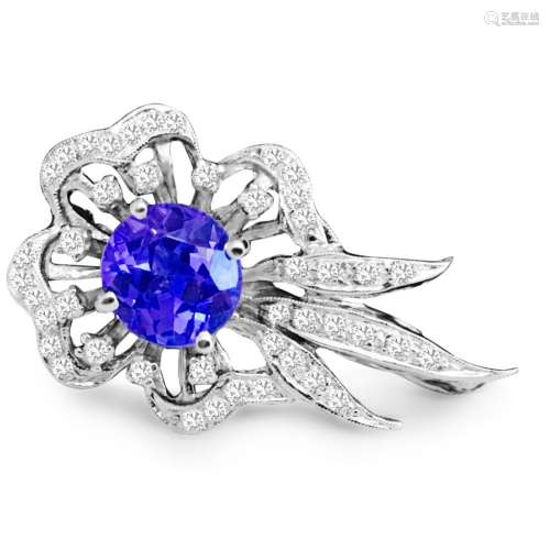 14K Gold TANZANITE AND DIAMOND PIN