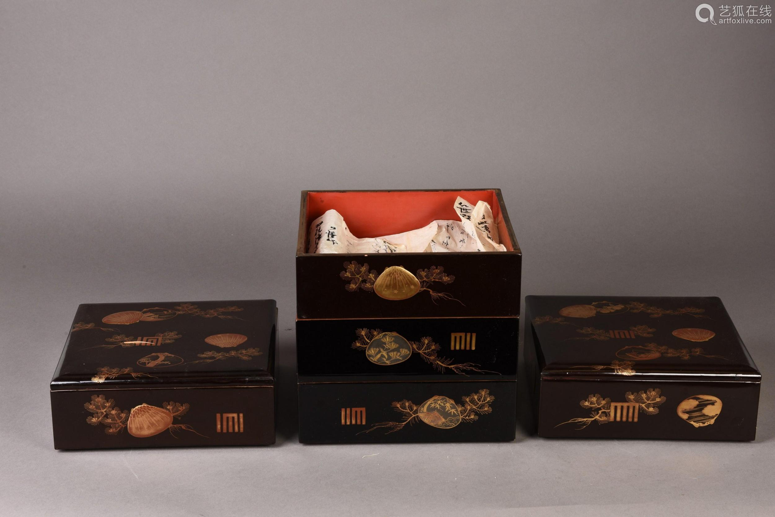 A SET OF FIVE LACQUER BOXES