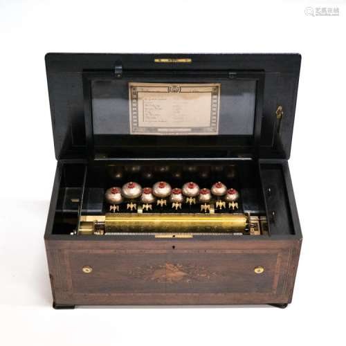 SWISS CYLINDER MUSIC BOX WITH 9 BELLS