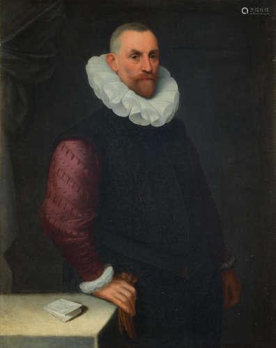 Portrait of a gentleman, three-quarter-length,  Attributed to Cesare Aretusi(Bologna 1549-1612)