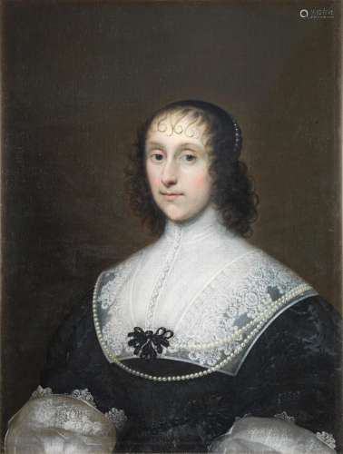 Portrait of a lady, said to be Mary Digges, bust-length, in a black dress with a white collar and pearl necklace Cornelis Jonson van Ceulen(London 1593-1661 Utrecht)