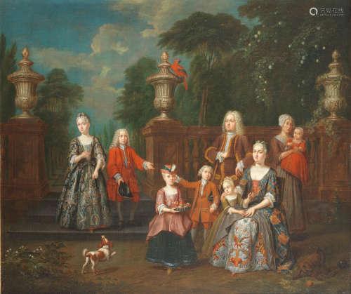 Portrait of a family group in a park landscape Jan Josef Horemans the Elder(Antwerp 1682-1759)