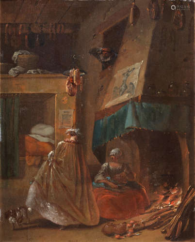 An interior with an elegant lady, her spaniel and a maid before a fireplace French School18th Century