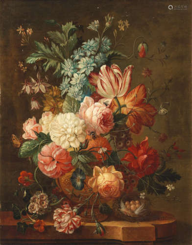 Roses, tulips, chrysanthemums and other flowers in a bronze urn Dutch Schoolearly 19th Century