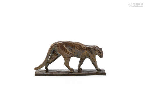 SIGNED IN CAST WITH 'VALSUANI' FOUNDRY STAMP, CIRCA 1925  an art deco small size patinated bronze model of a panther by Alberic Collin
