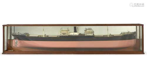 20 x 94 1/2 x 9 1/2 ins (51 x 240 x 24cm)  A ship builder's half-block model of the cargo vessel Bardsey, English, circa 1899,