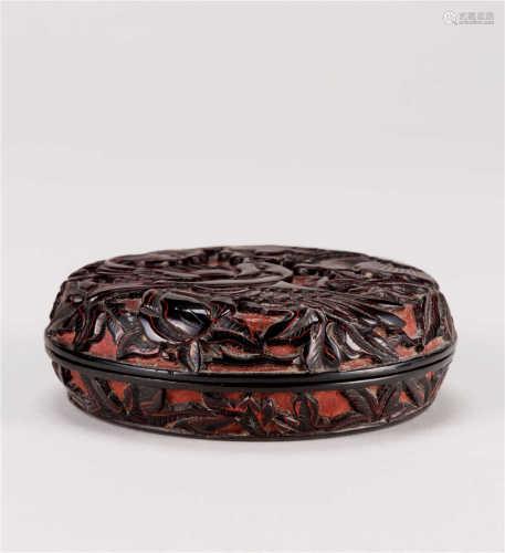 明 剔黑花鸟纹香盒