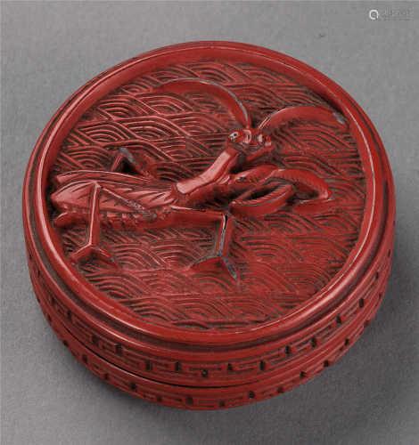 清 剔红小香盒