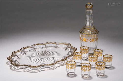 1900年 巴卡拉水晶鎏金酒具 (一套)