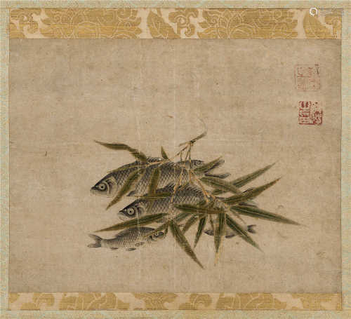 钱选(元) 竹鱼 立轴 设色纸本