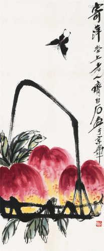 齐白石(1864~1957) 寿桃 镜框 设色纸本