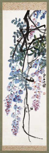 齐白石(1864~1957) 紫藤 立轴 设色纸本