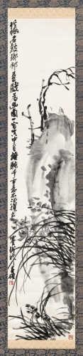 吴昌硕(1844~1927) 1925年作 兰石 立轴 水墨绫本