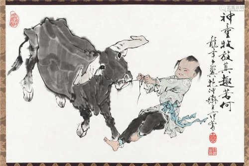 范曾(b.1938) 2000年作 神童牧放 立轴 设色纸本