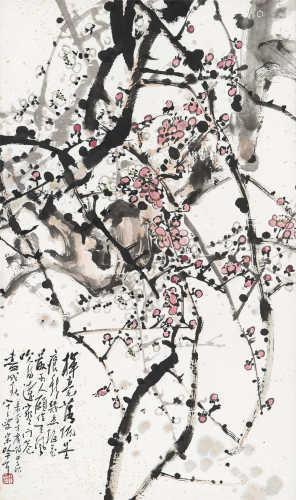 宋吟可(1902~1999) 1984年作 梅 镜框 设色纸本