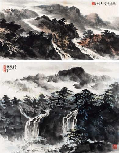胡振郎(b.1938) 源远流长 山涧清流 镜框 设色纸本