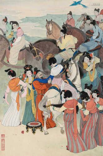 谢振瓯(b.1941) 丽人行 镜框 设色纸本