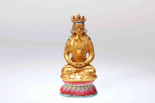 A Chinese Gilt Porcelain Buddha