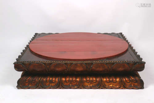 A Chinese Carved Wood Buddha Stand