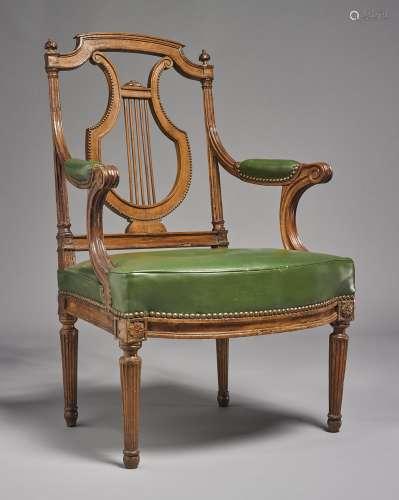 A Louis XVI mahoganyfauteuil à lyre, circa 1785