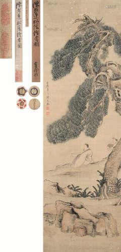 陈洪绶(1599~1652) 松荫读书图 立轴 设色绢本