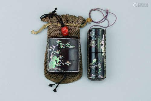清早期(1644-1775)年作 黑漆嵌螺钿山水花鸟纹印笼 (二件一组)