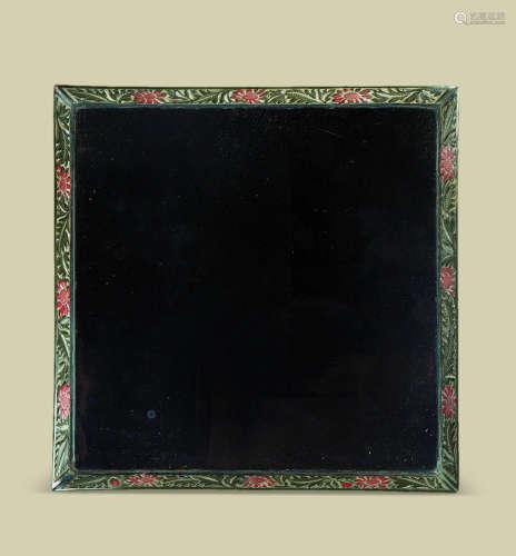 明初(1368-1441)年作 黑漆剔彩花卉纹四方香盘