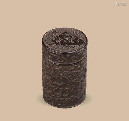 明晚期(1538-1644)年作 剔犀花卉弥勒纹茶叶罐