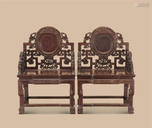 红木灵芝纹太师椅 (一对)