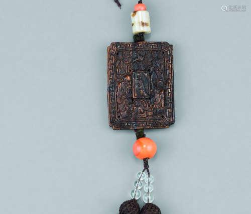 清代(1644-1911)年作 沉香雕人物纹斋戒牌