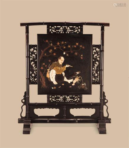 清代(1644-1911)年作 红木嵌百宝清供图纹座屏