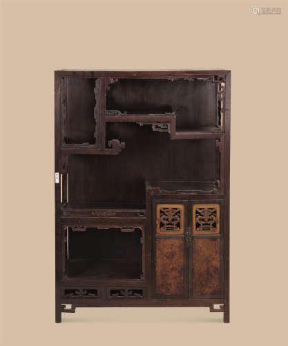 清中期(1776-1839)年作 楠木嵌紫檀嵌黄杨木瘿木多宝阁